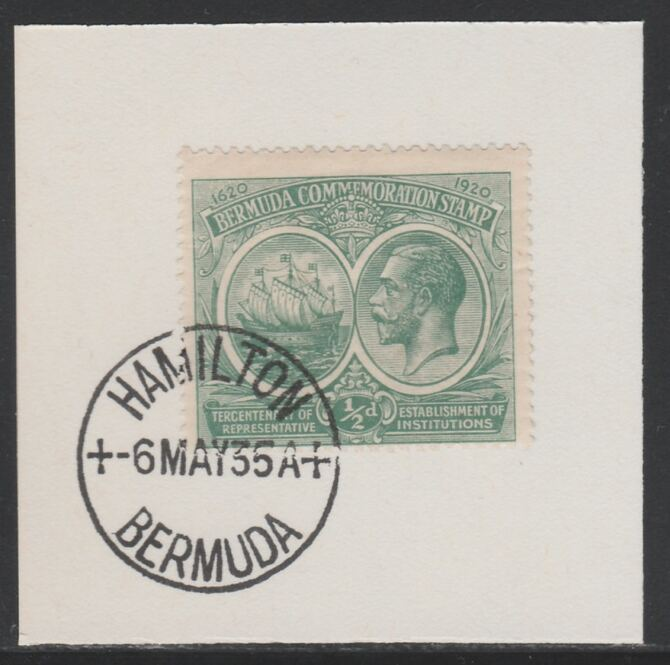 Bermuda 1920-21 KG5 Tercentenary (1st issue) 1/2d (SG 60) on piece with full strike of Madame Joseph forged cancellation type 61