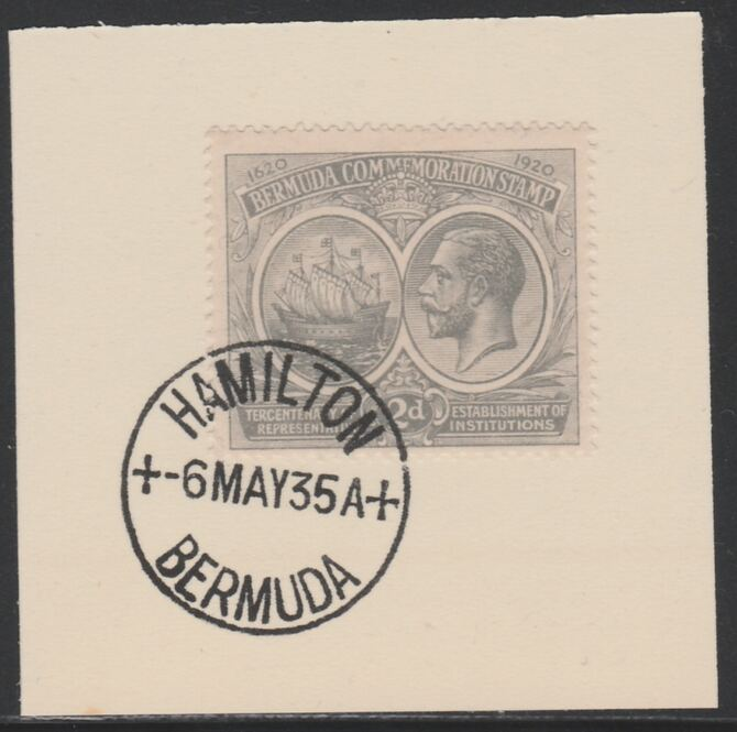 Bermuda 1920-21 KG5 Tercentenary (1st issue) 2d (SG 61) on piece with full strike of Madame Joseph forged cancellation type 61