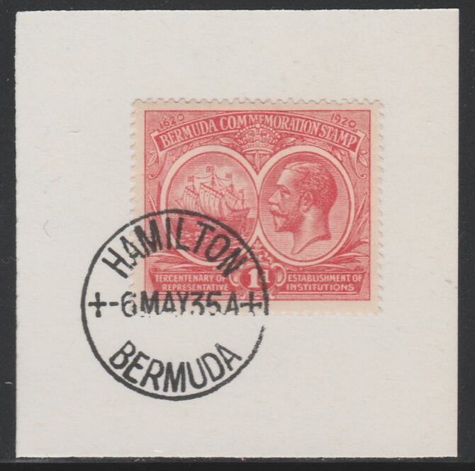 Bermuda 1920-21 KG5 Tercentenary (1st issue) 1d (SG 65) on piece with full strike of Madame Joseph forged cancellation type 61