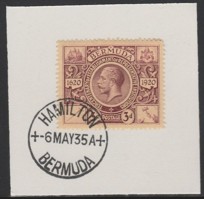 Bermuda 1921 KG5 Tercentenary (2nd issue) 3d (SG 70) on piece with full strike of Madame Joseph forged cancellation type 61