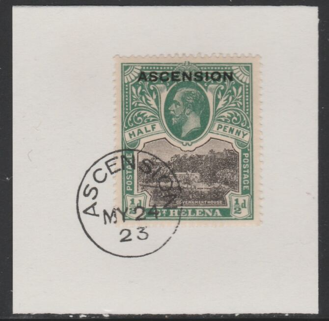 Ascension 1922 KG5 Overprint on 1/2d black & green SG 1 on piece with full strike of Madame Joseph forged postmark type 19