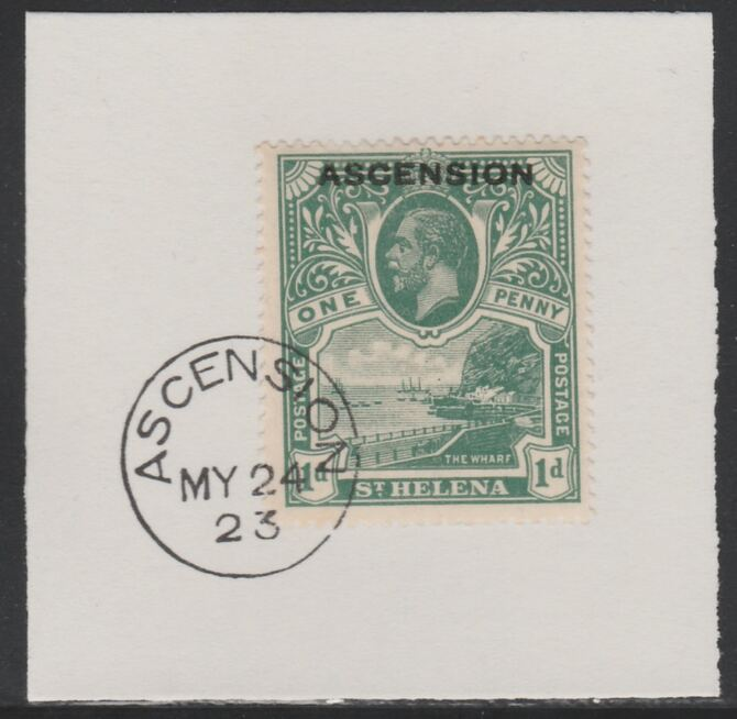 Ascension 1922 KG5 Overprint on 1d green SG 2 on piece with full strike of Madame Joseph forged postmark type 19