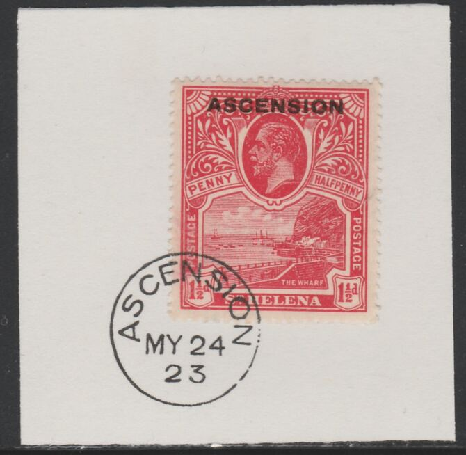 Ascension 1922 KG5 Overprint on 1.5d rose-scarlet SG 3 on piece with full strike of Madame Joseph forged postmark type 19