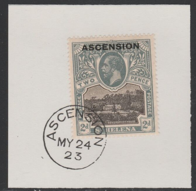 Ascension 1922 KG5 Overprint on 2d black & grey SG 4 on piece with full strike of Madame Joseph forged postmark type 19