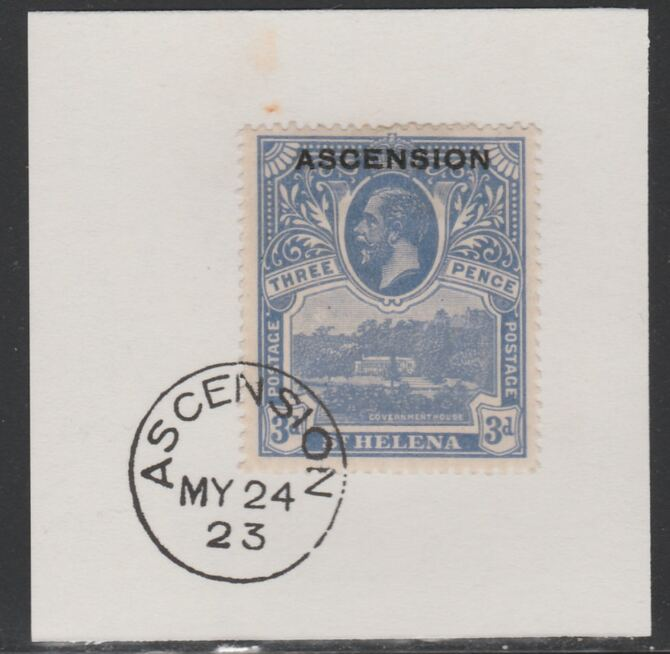 Ascension 1922 KG5 Overprint on 3d blue SG 5 on piece with full strike of Madame Joseph forged postmark type 19