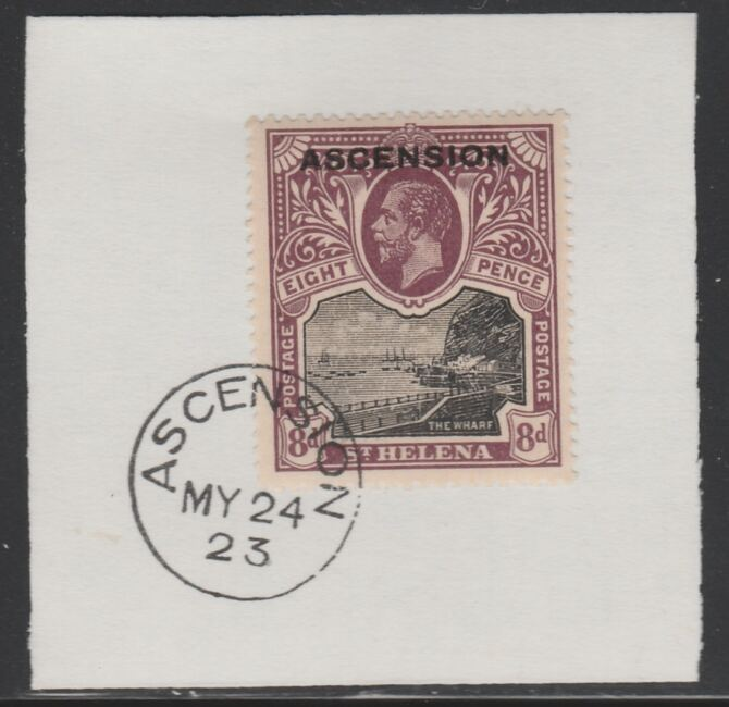 Ascension 1922 KG5 Overprint on 8d black & purple SG 6 on piece with full strike of Madame Joseph forged postmark type 19