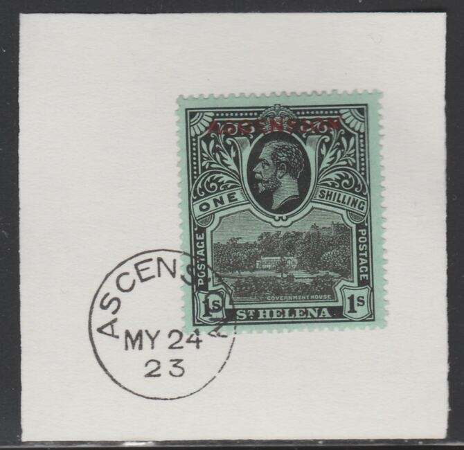 Ascension 1922 KG5 Overprint on 1s black on green SG 9 on piece with full strike of Madame Joseph forged postmark type 19