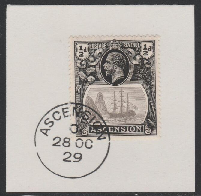 Ascension 1924-33 KG5 Badge 1/2d grey-black & black (SG10) on piece with full strike of Madame Joseph forged postmark type 20