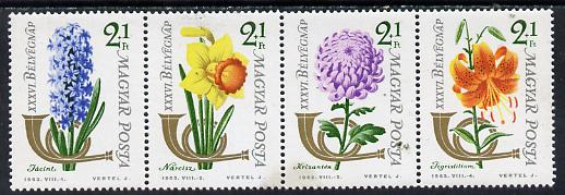 Hungary 1963 Stamp Day (Flowers) se-tenant perf strip of 4, Mi 1967-70