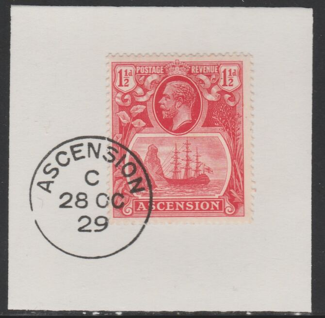 Ascension 1924-33 KG5 Badge 1.5d rose-red (SG12) on piece with full strike of Madame Joseph forged postmark type 20