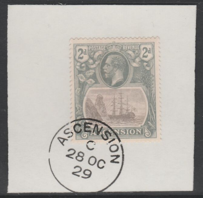 Ascension 1924-33 KG5 Badge 2d grey-black & grey (SG13) on piece with full strike of Madame Joseph forged postmark type 20