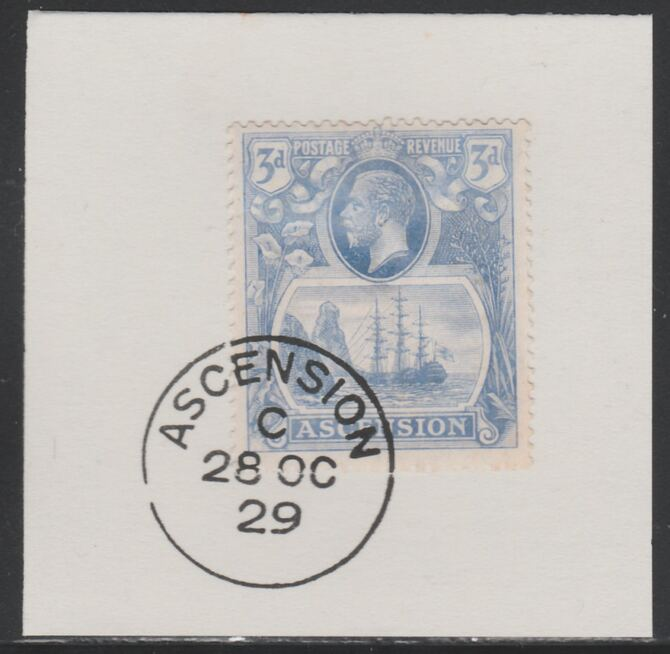 Ascension 1924-33 KG5 Badge 3d blue (SG14) on piece with full strike of Madame Joseph forged postmark type 20