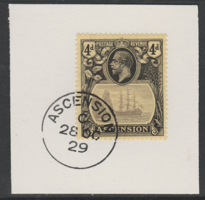 Ascension 1924-33 KG5 Badge 4d grey-black & black on yellow (SG15) on piece with full strike of Madame Joseph forged postmark type 20
