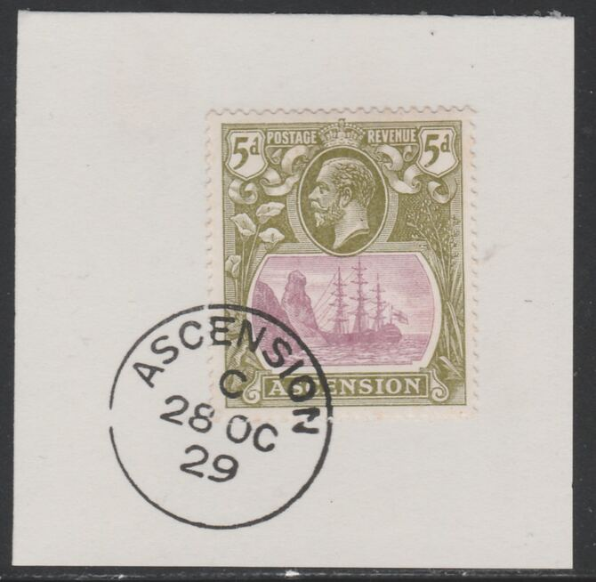 Ascension 1924-33 KG5 Badge 5d purple & olive-green (SG15d) on piece with full strike of Madame Joseph forged postmark type 20