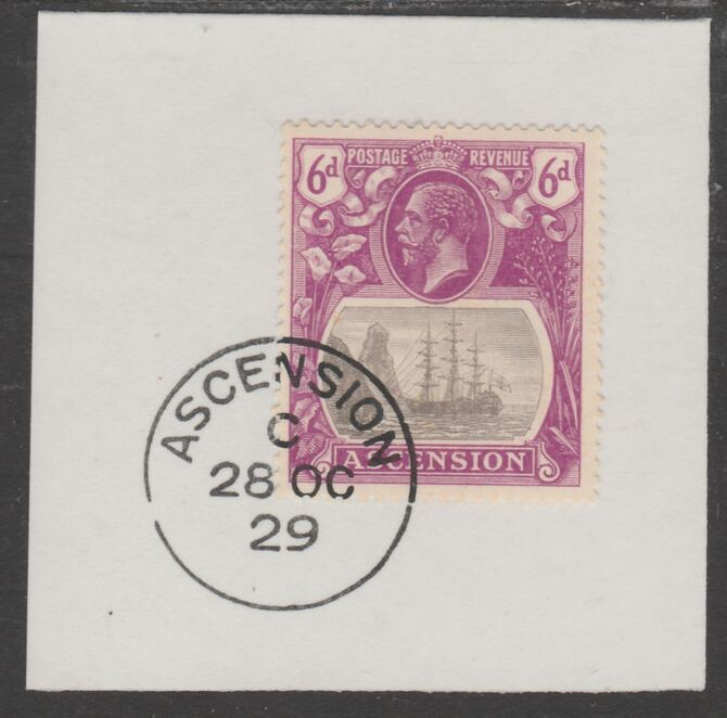 Ascension 1924-33 KG5 Badge 6d grey-black & purple (SG16) on piece with full strike of Madame Joseph forged postmark type 20