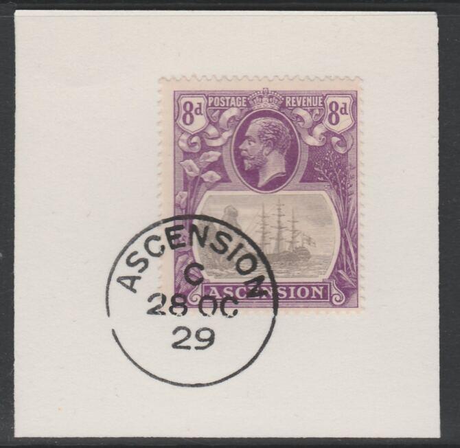 Ascension 1924-33 KG5 Badge 8d grey-black & violet (SG17) on piece with full strike of Madame Joseph forged postmark type 20