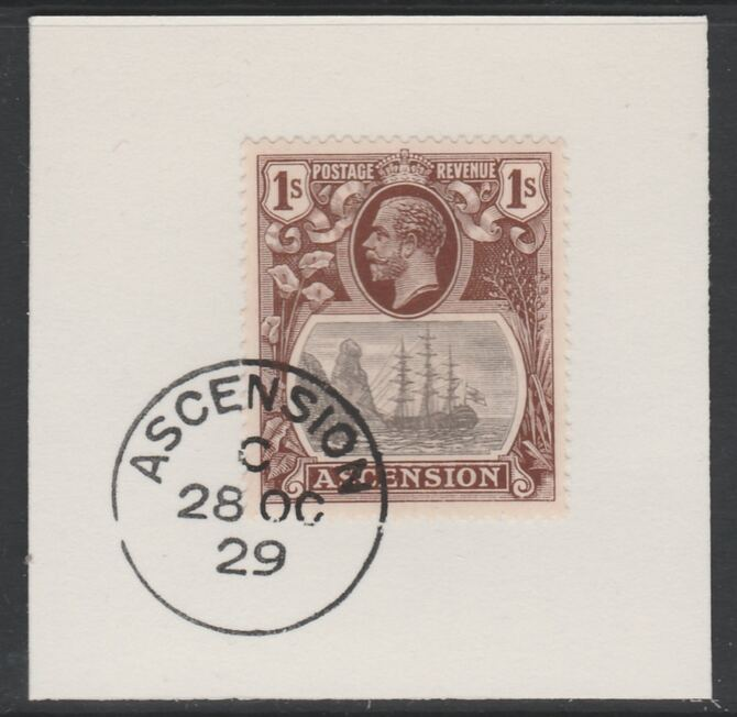Ascension 1924-33 KG5 Badge 1s grey-black & red-brown (SG18) on piece with full strike of Madame Joseph forged postmark type 20