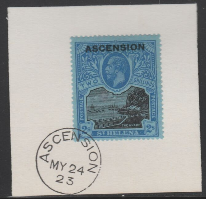 Ascension 1922 KG5 Overprint on 2s black & blue on blue SG 7 on piece with full strike of Madame Joseph forged postmark type 19