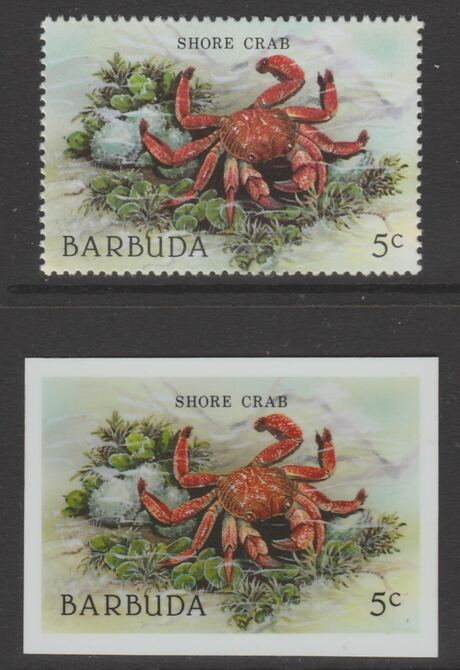 Barbuda 1987 Marine Life 5c Shore Crab die proof in all 4 colours on Cromalin plastic card complete with issued stamp (SG 960). Cromalin proofs are an essential part of the printing proces, produced in very limited numbers and rarely offered on the open market.