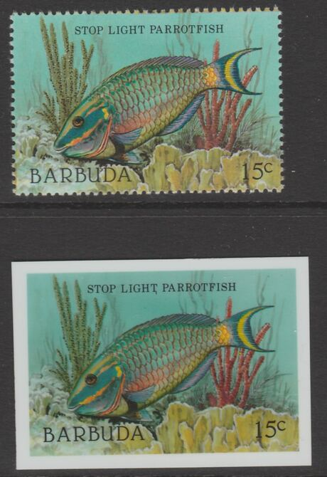 Barbuda 1987 Marine Life 15c Parrotfish die proof in all 4 colours on Cromalin plastic card complete with issued stamp (SG 962). Cromalin proofs are an essential part of the printing proces, produced in very limited numbers and rarely offered on the open market.
