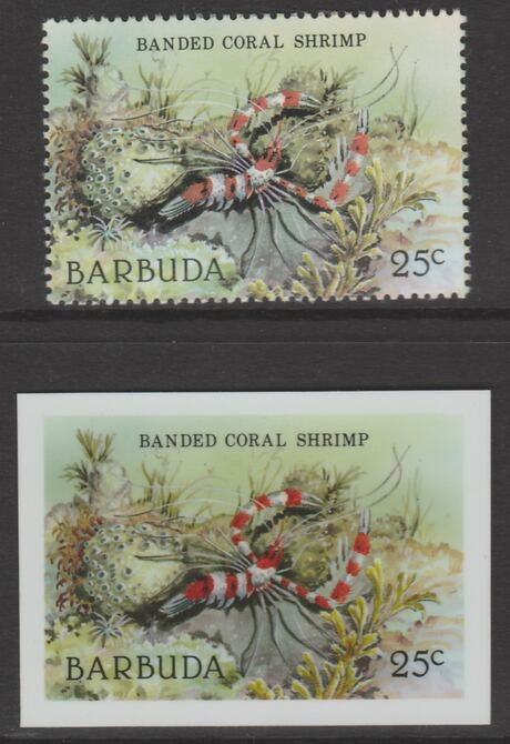 Barbuda 1987 Marine Life 25c Banded Coral Shrimp die proof in all 4 colours on Cromalin plastic card complete with issued stamp (SG 963). Cromalin proofs are an essential...