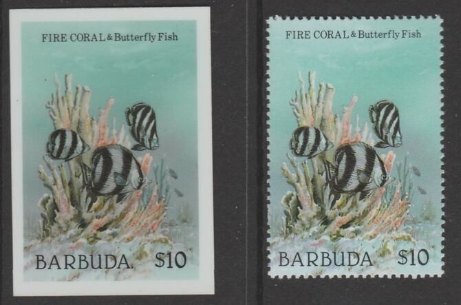 Barbuda 1987 Marine Life $10 Fure Coral die proof in all 4 colours on Cromalin plastic card complete with issued stamp (SG 972). Cromalin proofs are an essential part of ...