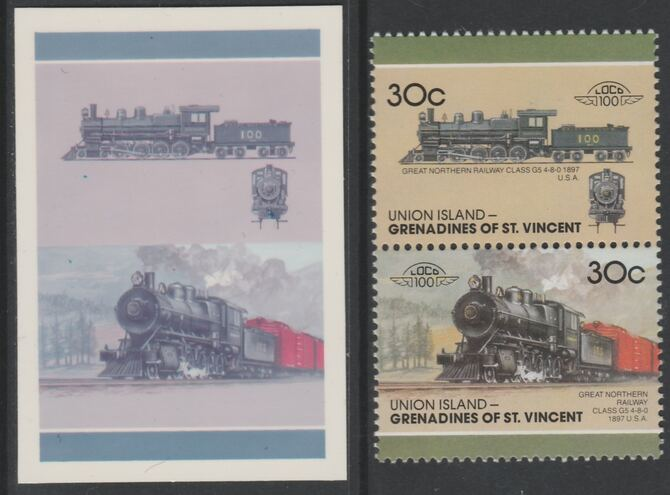 St Vincent - Union Island 1987 Locomotives #7 (Leaders of the World) 30c Great Northern Class G5 se-tenant imperf die proof in magenta & cyan only on Cromalin plastic card (ex archives) complete with issued pair. Cromalin proofs are an essential part of the printing proces, produced in very limited numbers and rarely offered on the open market.