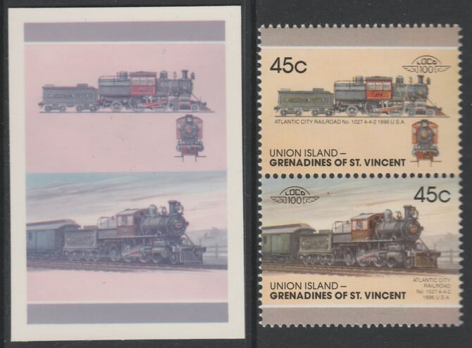 St Vincent - Union Island 1987 Locomotives #7 (Leaders of the World) 45c Atlantic City Railroad se-tenant imperf die proof in magenta & cyan only on Cromalin plastic card (ex archives) complete with issued pair. Cromalin proofs are an essential part of the printing proces, produced in very limited numbers and rarely offered on the open market.