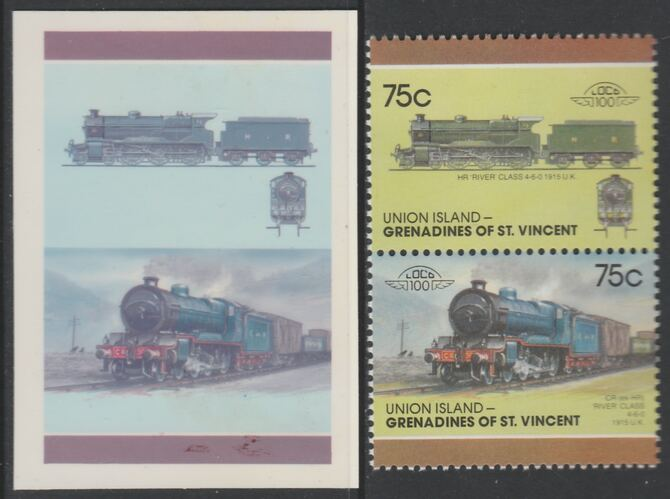 St Vincent - Union Island 1987 Locomotives #7 (Leaders of the World) 75c HR River Class se-tenant imperf die proof in magenta & cyan only on Cromalin plastic card (ex archives) complete with issued pair. Cromalin proofs are an essential part of the printing proces, produced in very limited numbers and rarely offered on the open market.