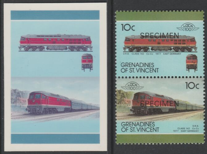 St Vincent - Grenadines 1987 Locomotives #8 (Leaders of the World) 10c DRB Class 142 se-tenant imperf die proof in magenta & cyan only on Cromalin plastic card (ex archives) complete with issued SPECIMEN pair. (SG 520a). Cromalin proofs are an essential part of the printing proces, produced in very limited numbers and rarely offered on the open market.