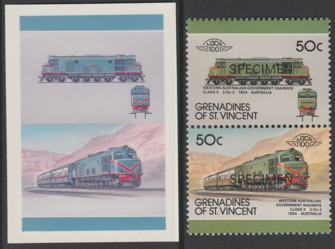 St Vincent - Grenadines 1987 Locomotives #8 (Leaders of the World) 50c Western Australia Class X se-tenant imperf die proof in magenta & cyan only on Cromalin plastic card (ex archives) complete with issued SPECIMEN pair. (SG 524a). Cromalin proofs are an essential part of the printing proces, produced in very limited numbers and rarely offered on the open market.
