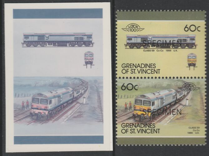 St Vincent - Grenadines 1987 Locomotives #8 (Leaders of the World) 60c UK Class 59 se-tenant imperf die proof in magenta & cyan only on Cromalin plastic card (ex archives) complete with issued SPECIMEN pair. (SG 526a). Cromalin proofs are an essential part of the printing proces, produced in very limited numbers and rarely offered on the open market.