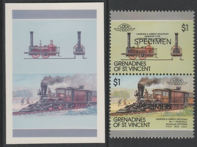 St Vincent - Grenadines 1987 Locomotives #8 (Leaders of the World) $1 Camden & Amboy No.1 se-tenant imperf die proof in magenta & cyan only on Cromalin plastic card (ex archives) complete with issued SPECIMEN pair. (SG 530a). Cromalin proofs are an essential part of the printing proces, produced in very limited numbers and rarely offered on the open market.