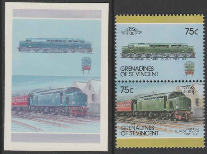 St Vincent - Grenadines 1987 Locomotives #7 (Leaders of the World) 75c UK Diesel Class 40 se-tenant imperf die proof in magenta & cyan only on Cromalin plastic card (ex archives) complete with issued normal pair. (SG 512a). Cromalin proofs are an essential part of the printing proces, produced in very limited numbers and rarely offered on the open market.