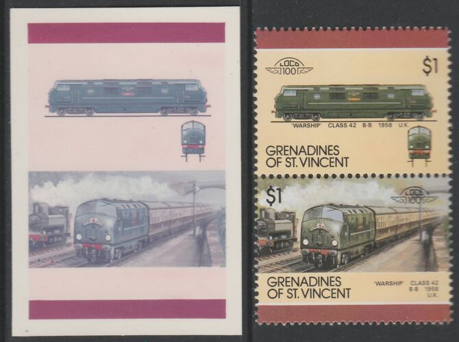 St Vincent - Grenadines 1987 Locomotives #7 (Leaders of the World) $1 UK Warship Class 42 se-tenant imperf die proof in magenta & cyan only on Cromalin plastic card (ex archives) complete with issued normal pair. (SG 514a). Cromalin proofs are an essential part of the printing proces, produced in very limited numbers and rarely offered on the open market.