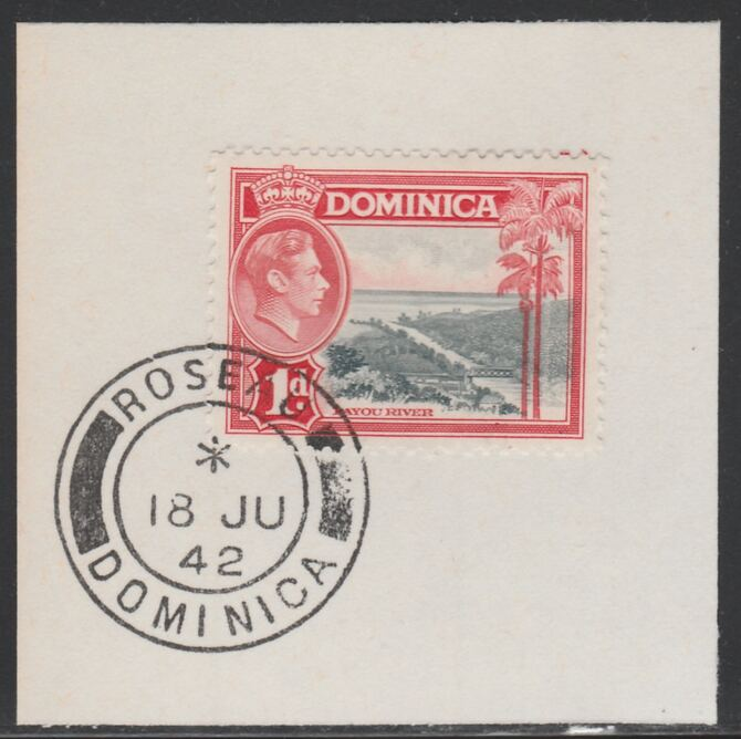 Dominica 1938-47 KG6 1d Layou River on piece with full strike of Madame Joseph forged postmark type 143