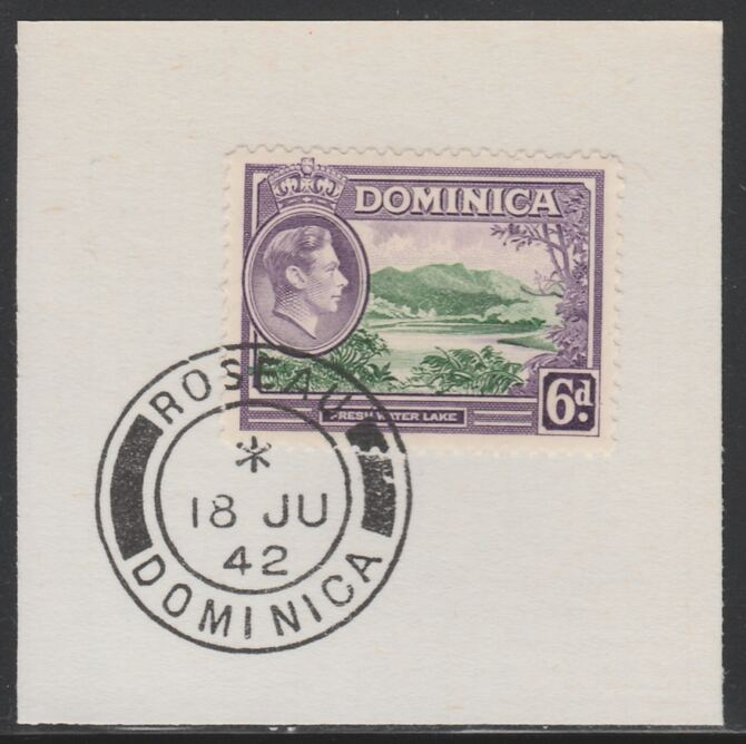 Dominica 1938-47 KG6 6d Freshwater Lake on piece with full strike of Madame Joseph forged postmark type 143