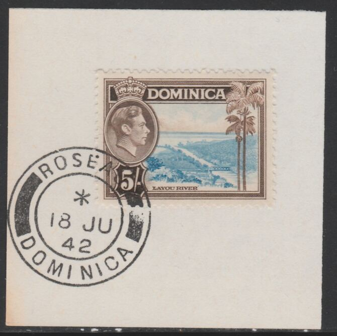 Dominica 1938-47 KG6 5s Layou River on piece with full strike of Madame Joseph forged postmark type 143
