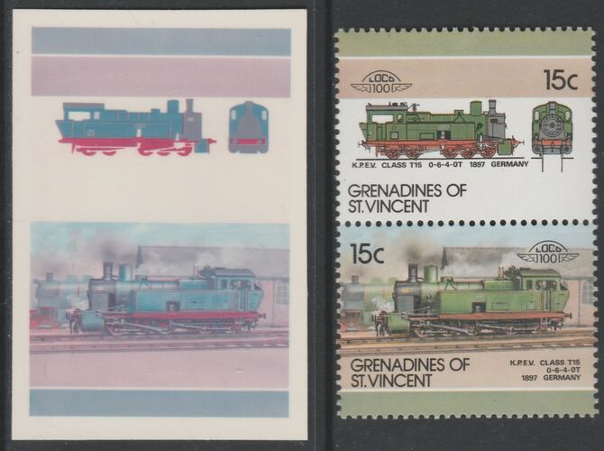 St Vincent - Grenadines 1986 Locomotives #6 (Leaders of the World) 15c KPEV Class T15 se-tenant imperf die proof in magenta & cyan only on Cromalin plastic card (ex archives) complete with issued normal pair. (SG 443a). Cromalin proofs are an essential part of the printing proces, produced in very limited numbers and rarely offered on the open market.