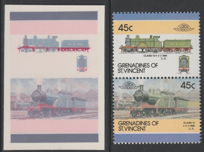 St Vincent - Grenadines 1986 Locomotives #6 (Leaders of the World) 45c 4-2-2 Class 13 se-tenant imperf die proof in magenta & cyan only on Cromalin plastic card (ex archives) complete with issued normal pair. (SG 445a). Cromalin proofs are an essential part of the printing proces, produced in very limited numbers and rarely offered on the open market.
