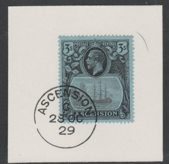 Ascension 1924-33 KG5 Badge 3s grey-black & black on blue (SG20) on piece with full strike of Madame Joseph forged postmark type 20