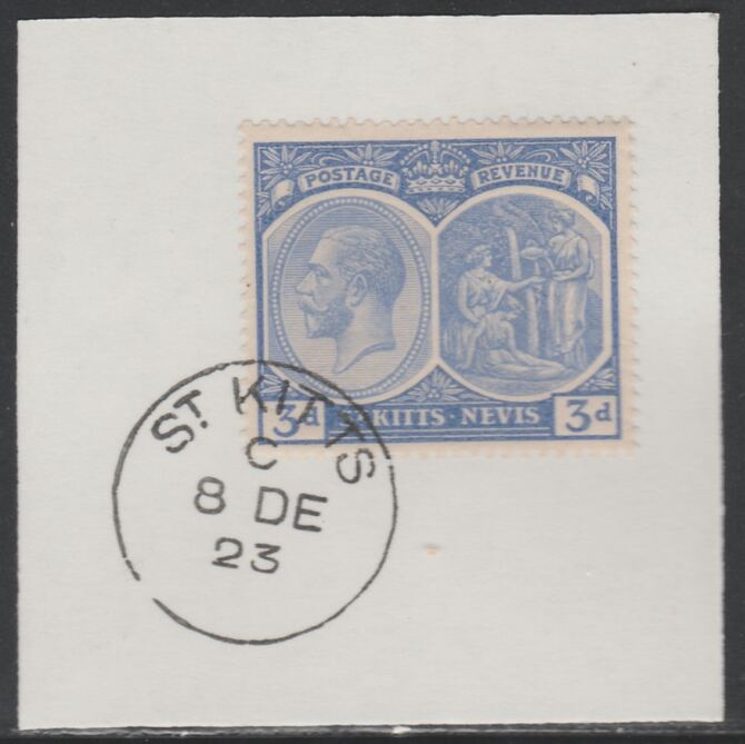St Kitts-Nevis 1920-22 KG5 Medicinal Spring 3d ultramarine SG45 on piece with full strike of Madame Joseph forged postmark type 347