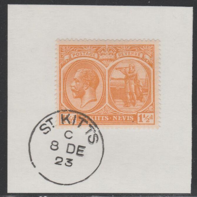 St Kitts-Nevis 1920-22 KG5 Columbus 1.5d orange SG 26 on piece with full strike of Madame Joseph forged postmark type 347