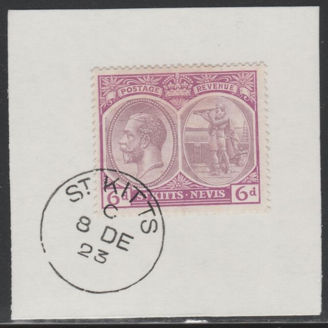 St Kitts-Nevis 1920-22 KG5 Columbus 6d purple & mauve SG 30/46 on piece with full strike of Madame Joseph forged postmark type 347