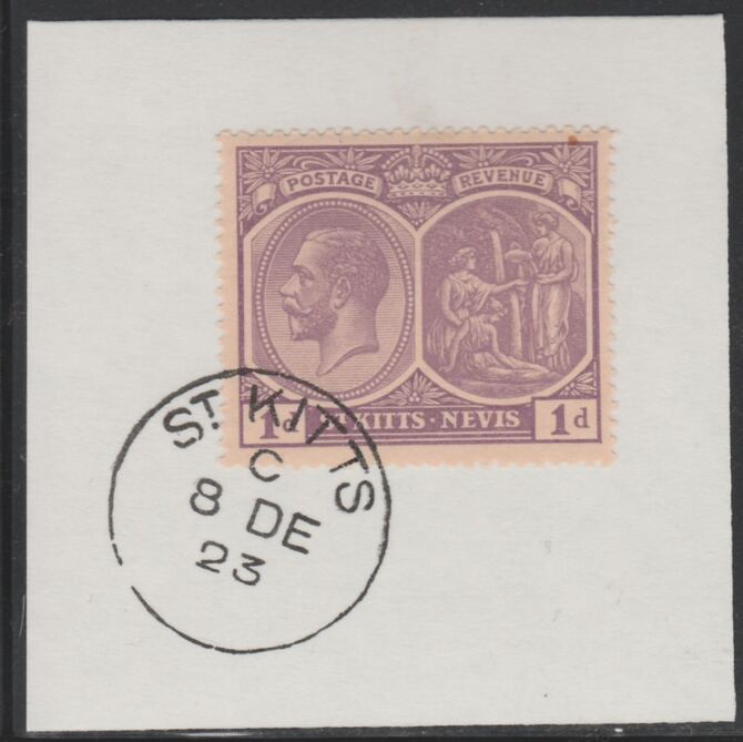St Kitts-Nevis 1920-22 KG5 Medicinal Spring 1d deep violet SG39 on piece with full strike of Madame Joseph forged postmark type 347