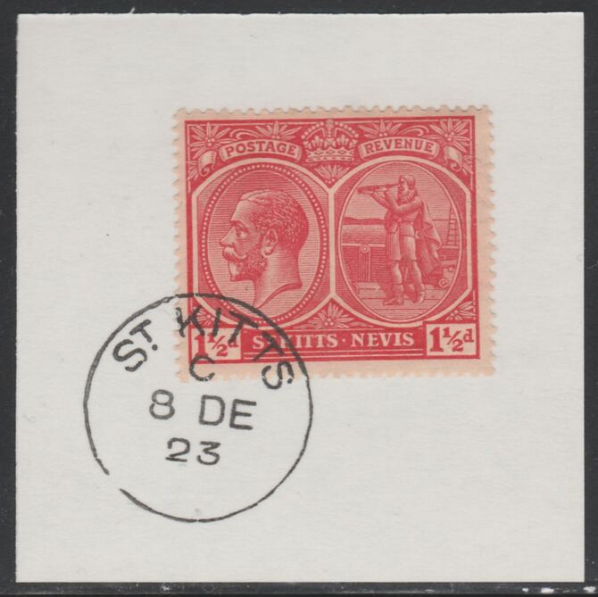 St Kitts-Nevis 1920-22 KG5 Columbus 1.5d red SG40 on piece with full strike of Madame Joseph forged postmark type 347