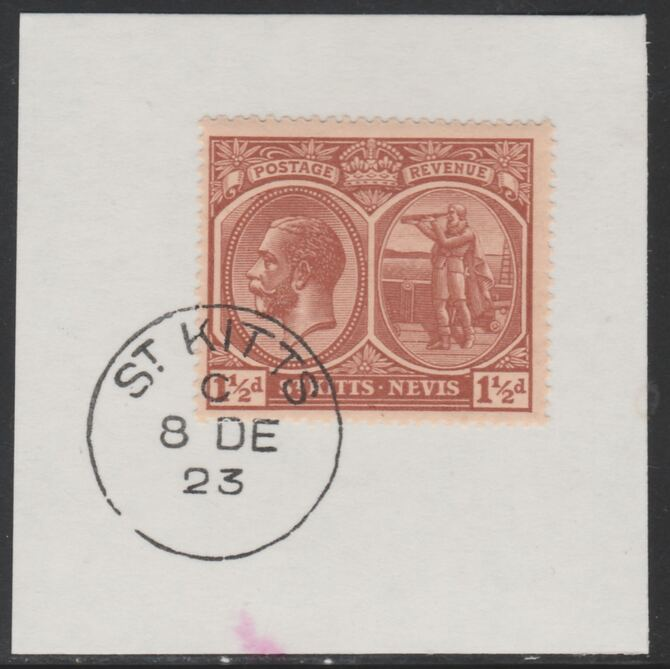 St Kitts-Nevis 1920-22 KG5 Columbus 1.5d red-brown SG40a on piece with full strike of Madame Joseph forged postmark type 347