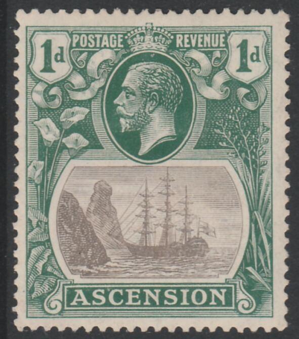 Ascension 1924-33 KG5 Badge 1d grey-black & blue-green showing Torn Flad Variety (Stamp 42) mounted mint SG 11b