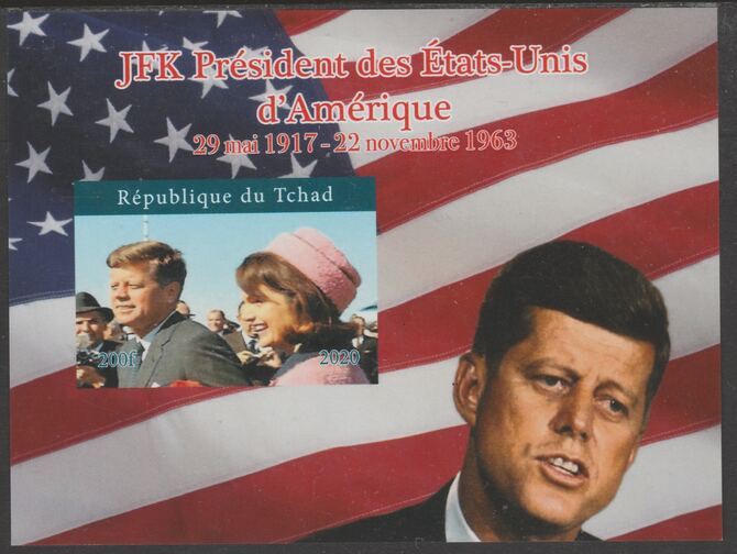Chad 2020 JFK President of United States of America #1 - imperf delexe sheet unmounted mint. Note this item is privately produced and is offered purely on its thematic appeal