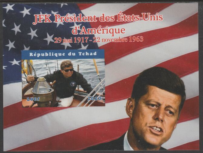 Chad 2020 JFK President of United States of America #2 - imperf delexe sheet unmounted mint. Note this item is privately produced and is offered purely on its thematic appeal